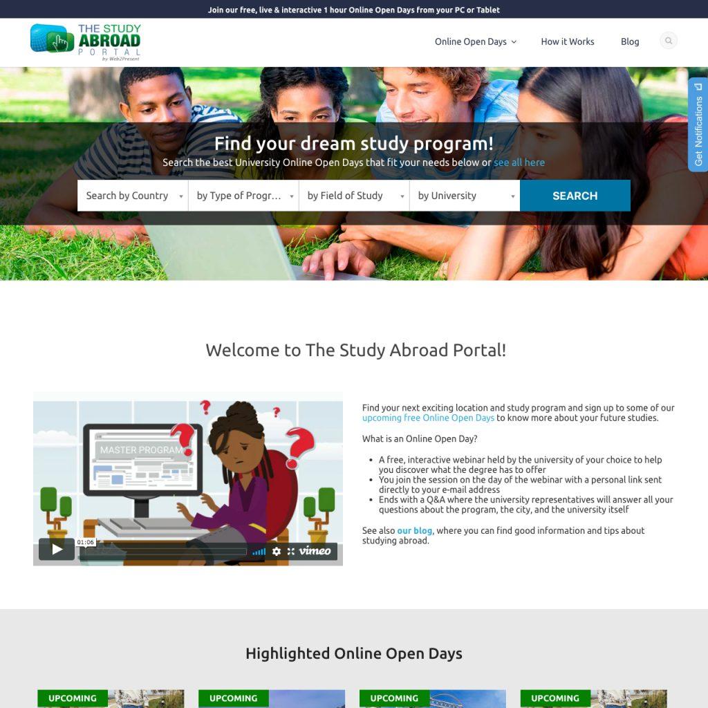Portfólio - Alvetti Comunicação - Site The Study Abroad Portal